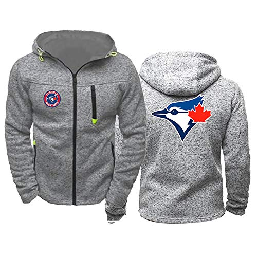 GMRZ Hoodie Strickjacke, Mit Toronto Blue Jays Logo Major League Baseball Team Trainingsanzug Fans Jersey Kapuze Sweatshirt Langarm Jacke Für Herren Damen,A,XXXL