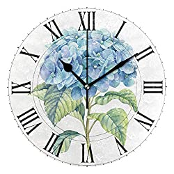 Oreayn Hydrangea Floral Roman Numerals Wall Clock for Home Office Bedroom Living Room Decor Non Ticking Blue