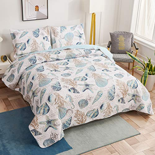 Junsey Beach Bedding Lightweight Coastal Bedspreads Full/Queen Size,3Pcs Conch Seashell Starfish Quilts Set Ocean Seahorse Seaweed Coverlet Pillow Shams