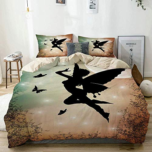 Zozun Duvet Cover Set Beige,Mystic Fairy and Butterfly Wing Print, Decorative 3 Piece Bedding Set with 2 Pillow Shams