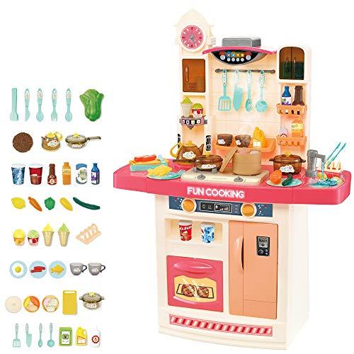 deAO Cocina de Juguete Mi Pequeño Chef Diseño Interactivo Multifuncional, Grifo de Agua, Función de Ebullición, Extractor, Características de Luz y Sonidos, 50 Accesorios Incluidos (Rosa)
