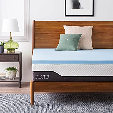 LUCID 2 Inch Gel Infused Memory Foam Mattress Topper - Full