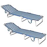 Pack de 2 tumbonas Playa Cama de 3 Posiciones de Aluminio y textileno de 190x58x25 cm (Azul y Blanco)