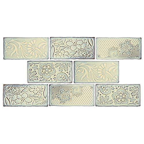 SomerTile WCVAFP Antigue Feelings Pergamon Ceramic Wall Tile, 3' x 6', Blue/Beige/Brown