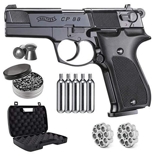 Wearable4U Umarex Walther CP88, Blued, 4 inch Barrel CO2 .177 Cal Pellet Air Pistol 5X 12gr CO2 Tanks and .177 500ct Pellets Bundle