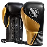 Hayabusa Pro Horse Hair Lace Up Boxing Gloves for Men and Women - Black/Gold, 8 oz