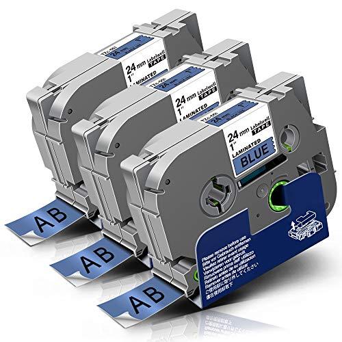 Labelwell Tze Tape 24mm x 8m TZe-551 Compatible for Brother Tz TZe551 TZ-551 Black on Blue Label Cassette for Brother P-touch PT-1010 PT-E500VP PT-P900W PT-P950NW PT-D600 PT-P750W PTH500LI Printer