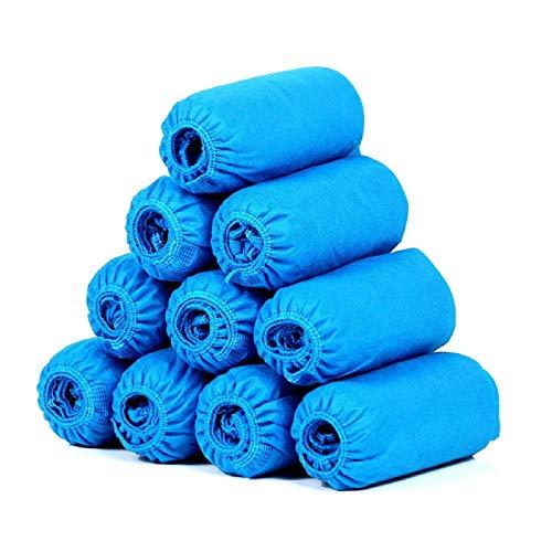 SGODDE 100 Piezas Cubrezapatos Desechables Impermeables, cubrezapatos desechables tela, cubre pies desechable para Calzado de Interior/Exterior, Anti-Agua, Anti-Barro, Reciclable (Talla 34-46, Azul)