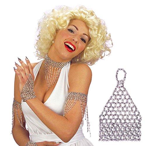 Amakando Bracelet Diamant Faux Strass Bijoux Danse du Ventre décoration argenté Danseuse Charleston Bijou Fantaisie pour Femmes