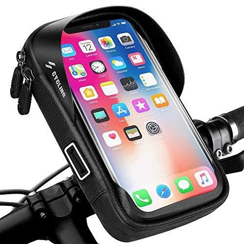 Fahrrad Lenkertasche, opamoo Rahmentasche Wasserdicht Fahrrad Handytasche 360°Drehung Handyhalterung mit Kopfhörerloch TPU Touchschirm Oberrohrtasche für GPS Navi und andere Edge bis 6 Zoll Handy