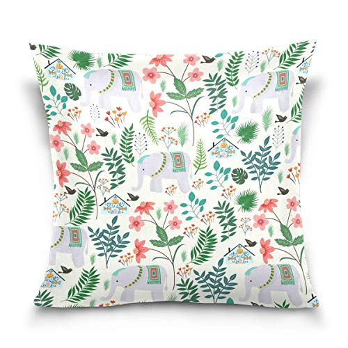 AEMAPE Tropical Leaves and Elephants Throw Pillow Covers Case Soft Comfortable Decorative Cushion Both Sides Print for Sofa Couch Bed Office Car,18x18 in