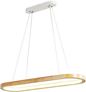 LED Ovalado Madera Iluminación Colgante Salon Roble Regulable Con Control Remoto Lámpara Colgante Rectangular Moderno Altura Ajustable Lámpara Araña Metal Dormitorio Mesa Comedor Lampara Techo,B 90CM