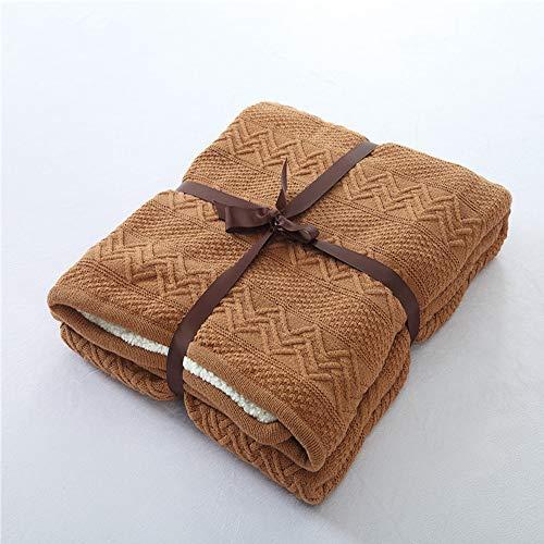 FGDSA Mantas de lana, mantas de ropa de cama supersuaves, de lana de felpa peinada superior y algodón de invierno de cordero de cachemira toalla de cama de ocio y aire acondicionado