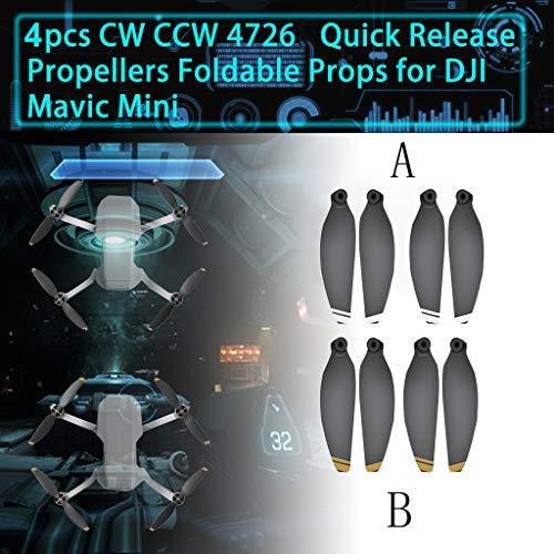 CUEYU Propellerblätter 4 Stück Luftschrauben für DJI Mavic Mini Drone,Carbon Quick Release Faltbare Drone Propeller Zubehör Kompatibel mit DJI Mavic Mini Drone (Gelb)