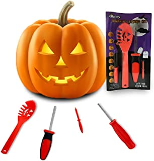 KINREX Pumpkin Carving Kit Tools - Jack-O-Lantern Halloween Decorations - Professional Pumpkin Cutting Supplies - 4 Sculpting Carving Tools - 8 Halloween Stencils - Orange