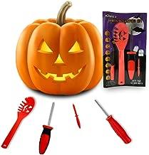 KINREX Pumpkin Carving Kit Tools - Jack-O-Lantern Halloween Decorations - Professional Pumpkin Cutting Supplies - 4 Sculpting Carving Tools - 8 Halloween Stencils - Orange