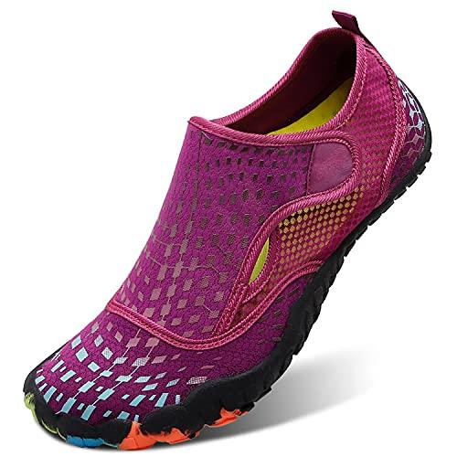 L-RUN Womens Water Shoes for Beach Pool Swim Surf Diving Purple Women 8, Men 6.5 M US