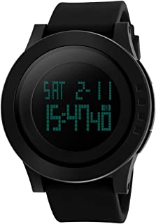 Men's Digital Sports Watch for Men with Large Face Waterproof Stopwatch Auto Date Military Format Alarms EL Backlight - Black
