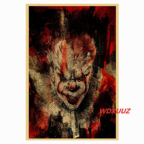 YIYEBAOFU DIY Pintar por números Película de Terror de suspenso Estadounidense Pennywise: The S of 'IT' Estilo Retro decoración del hogar póster Arte de la Pared Room...