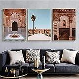 QZROOM Puerta marroquí Arte de la Pared Marrakech Caligrafía árabe Lienzo Pintura Arquitectura islámica Cartel Imprimir Cuadros de Pared Boho Decor-50x70cmx3 Sin Marco