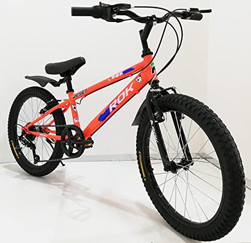Bicicletta ragazzo 20' Pollici con cambio 6 Velocità Giallo Arancione bambino bici con cavalletto su Sfera per ragazzi con Freni V-Brake, con parafanghi (Arancione)