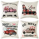 Woaboy Set of 4 Valentine's Day Cotten Linen Pillow Cover Loads of Love Cars Printed Pillowcase Square Decorative Cushion Cover Soft for Car Sofa Bed Couch Living Room 18 x 18Inch 45 x 45cm