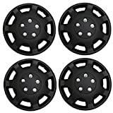 TuningPros WSC3-107B14 4pcs Set Snap-On Type (Pop-On) 14-Inches Matte Black Hubcaps Wheel Cover