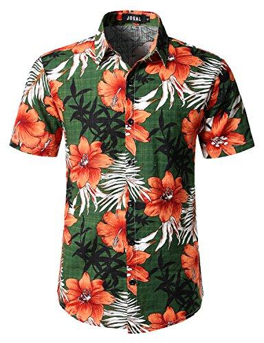JOGAL Men's Flower Casual Button Down Short Sleeve Hawaiian Shirt Meduim Green
