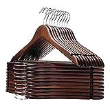 木製ハンガーセット スーツ ジャケット用 手作 天然高級木 (茶褐色 20本)