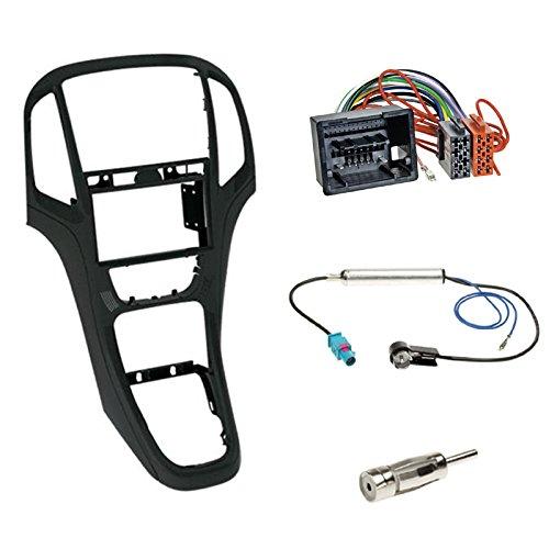 Autoradio Doppel 2-DIN Radioblende Radio Blende Halterung schwarz + ISO Radioanschlusskabel Adapter Antennenadapter für Opel Astra J (P-J) ab 12/2009 Astra J (P-J/SW) ab 11/2010 Astra J GTC (P-J/SW)