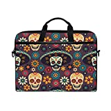 WXLIFE Floral Mexican Sugar Skull 13 13.3 14 Inch Laptop Shoulder Messenger Bag Case Sleeve Briefcase with Handle Strap for Men Women Boys Girls