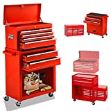 High Capacity 8-Drawer Rolling Tool Cabinet,Tool Box with Wheels and Drawer,Detachable Organizer Tool Chest Combo,Mobile Lockable Toolbox for Workshop Garage Mechanics