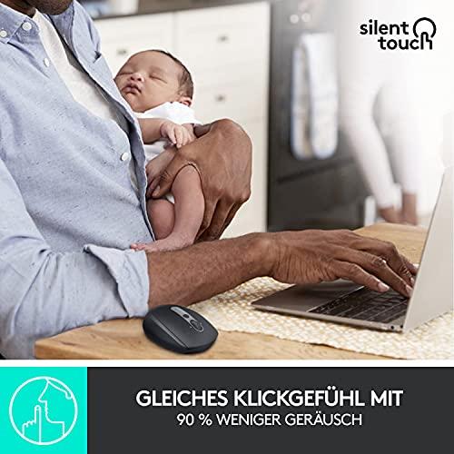 Logitech M590 Silent Kabellose Maus, Bluetooth und 2.4 GHz Verbindung via Unifying USB-Empfänger, 1000 DPI Optischer Sensor, 2-Jahre Akkulaufzeit, PC/Mac – Graphite/Schwarz - 3