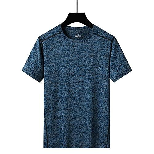 Damaifirstes RáPido para Running Fitness Ejercicio Camiseta,Seda de Hielo Hombre al Aire Libre Camiseta de Manga Corta Sección Delgada Sección Casual Vestido rápido-Niebla Azul_Metro