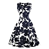 GAESHOW Vestido de Noche Plisado con Cuello en V con Estampado Floral Retro de los años 50 Vestido de Novia Estilo Banquete de Hepburn para Mujer (Azul Profundo, XX-Large)