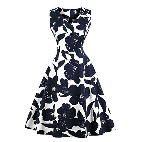 GAESHOW Vestido de Noche Plisado con Cuello en V con Estampado Floral Retro de los años 50 Vestido de Novia Estilo Banquete de Hepburn para Mujer a buen precio
