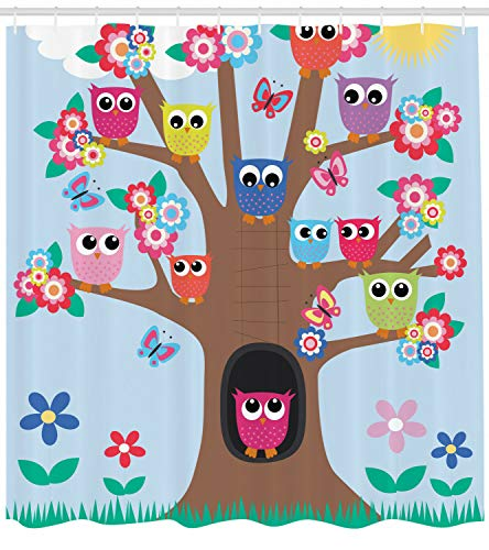 123456789 uil douchegordijn vogels en vlinders bedrukken voor de badkamer
