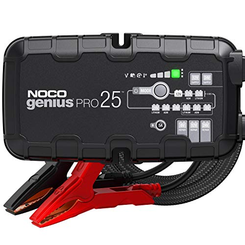NOCO GENIUSPRO25, 25-Amp Fully-Automatic Professional Smart Charger, 6V, 12V and 24V Battery Charger, Battery Maintainer, Power Supply, And Battery Desulfator With Temperature Compensation