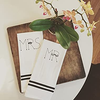 MKT ST Mr. & Mrs. 100% Cotton Tea Towel Set -- Perfect for Housewarming Wedding Birthday Gift
