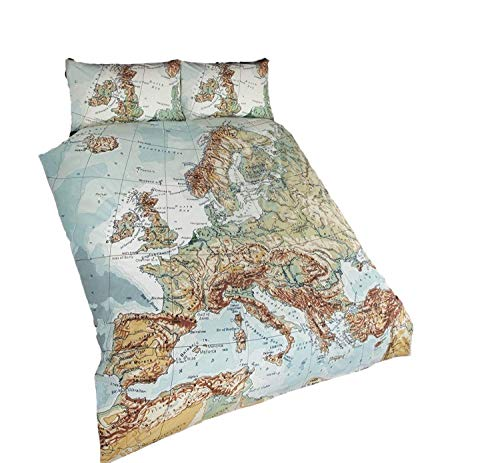Bedding Heaven VINTAGE MAP - England, Wales, Scotland, Ireland, Europe - Map, Atlas, Globe DUVET COVER - Single Bed Size