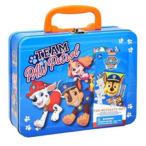 PAW Patrol Coloring and Activity Tin Box, Includes Markers, Stickers, Mess Free Crafts Color Kit in Tin Box, for Toddlers, Boys and Kids