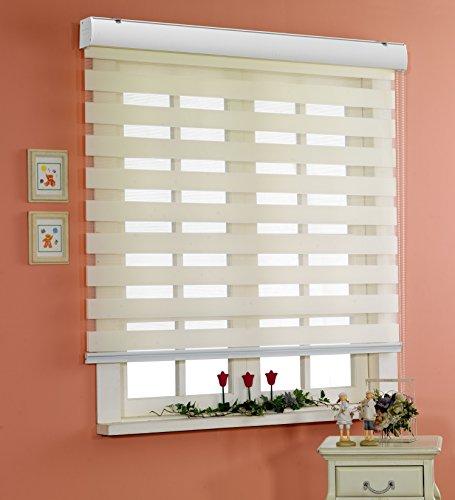 サイズ オーダーメイド, [Winsharp Basic, ivory, W 170 x H 120 (CM)] 調光ロールアップ スクリーン 窓 プリーツ ブラインド & カーテン 簾