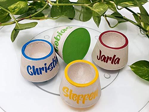 personalisierte Eierbecher aus Beton - Eierbecher mit Namen