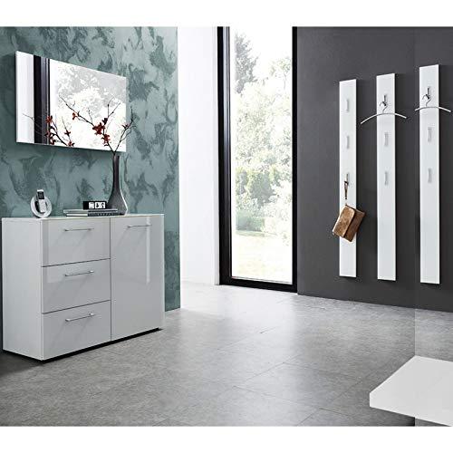 Lomadox Garderoben-Set - 5-teilig - Glasfront weiß - 3 Garderobenpaneele - Made in Germany