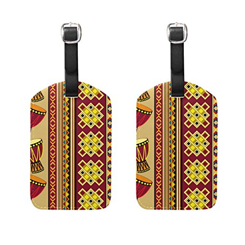 COOSUN African Drum Luggage Tags Travel Labels Tag Name Card Holder for Baggage Suitcase Bag Backpacks, 2 PCS