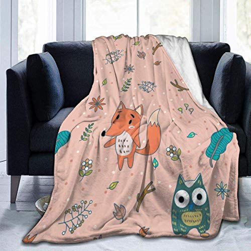 Nat Abra Fox Owl Flowers Throw Blanket Super Soft Comfy Micro Fleece Fuzzy Blanket Decorative Blanket Hypoallergenic