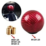 RYANSTAR Universal Shift Knob Gear Shifter Knobs with 3 Adapters Shifter Level Stick Carbon Fiber Style Round...