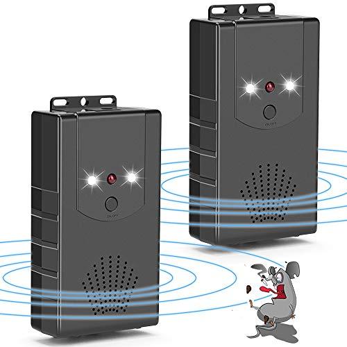 Coquimbo Repelente de Roedores Ultrasónico Ahuyentador de Ratones con luz LED y función de flash para ratas, ratones, martas, Insectos, Roedores (2 Piezas)