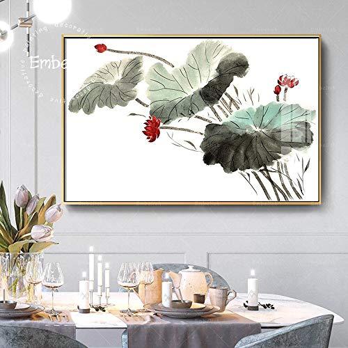 KWzEQ Imprimir en Lienzo Hermosa Flor de Lirio de Agua de Loto en póster Moderno de Estilo Chino y fotografías para el sofá de la Sala de estar50x75cmPintura sin Marco