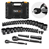 Drive Socket Set, Pass Through 40pcs TACKLIFE Multi-function Socket Set Various Screws,CR-V Steel,Metric and Inch,1/4-Inch & 3/8-Inch with Reversible Ratchet-SWS1A